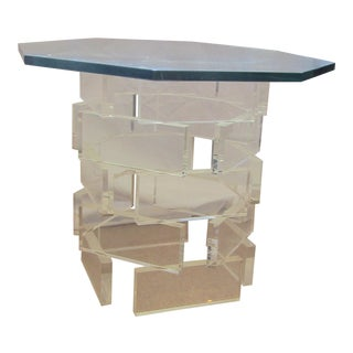 Modern Stacked Lucite Block Octagon Side Table