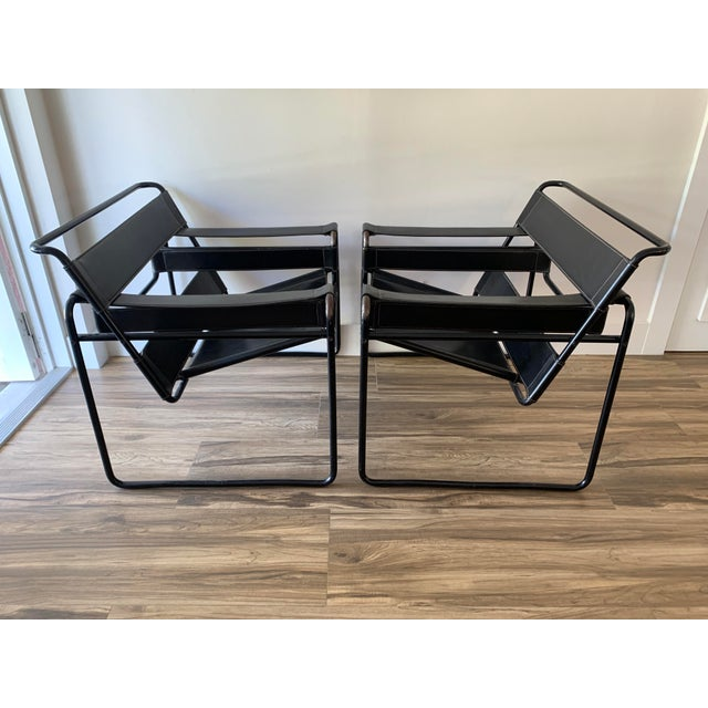 1970s 1970s Vintage Wassily Style Chairs With Black Frames - a Pair For Sale - Image 5 of 12