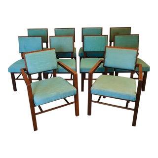 Frank Lloyd Wright for Henredon 'Taliesin' Mahogany Dining Chairs S/10 For Sale