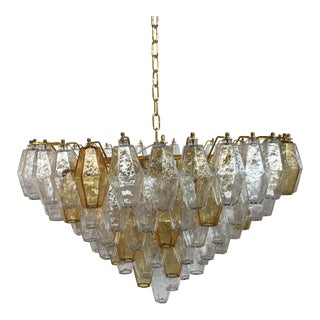 Chandelier Murano Glass Poliedro Transparent and Gold and Amber For Sale