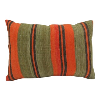 Vintage Handmade Green and Orange Striped Turkish Kilim Pillow Cover For Sale