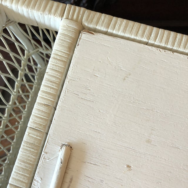White Vintage White Wicker Bed Tray For Sale - Image 8 of 12