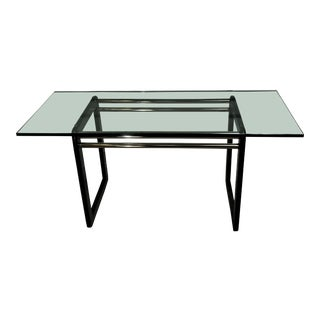 1980s Vintage Post Modern Ebonized Oak, Glass & Brass Writing Table For Sale
