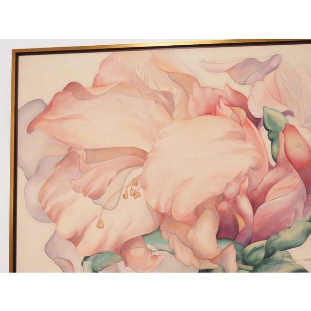 A large scale and sensual floral painting, acrylic stain on raw canvas, by the New Hampshire realist artist Daryl D....