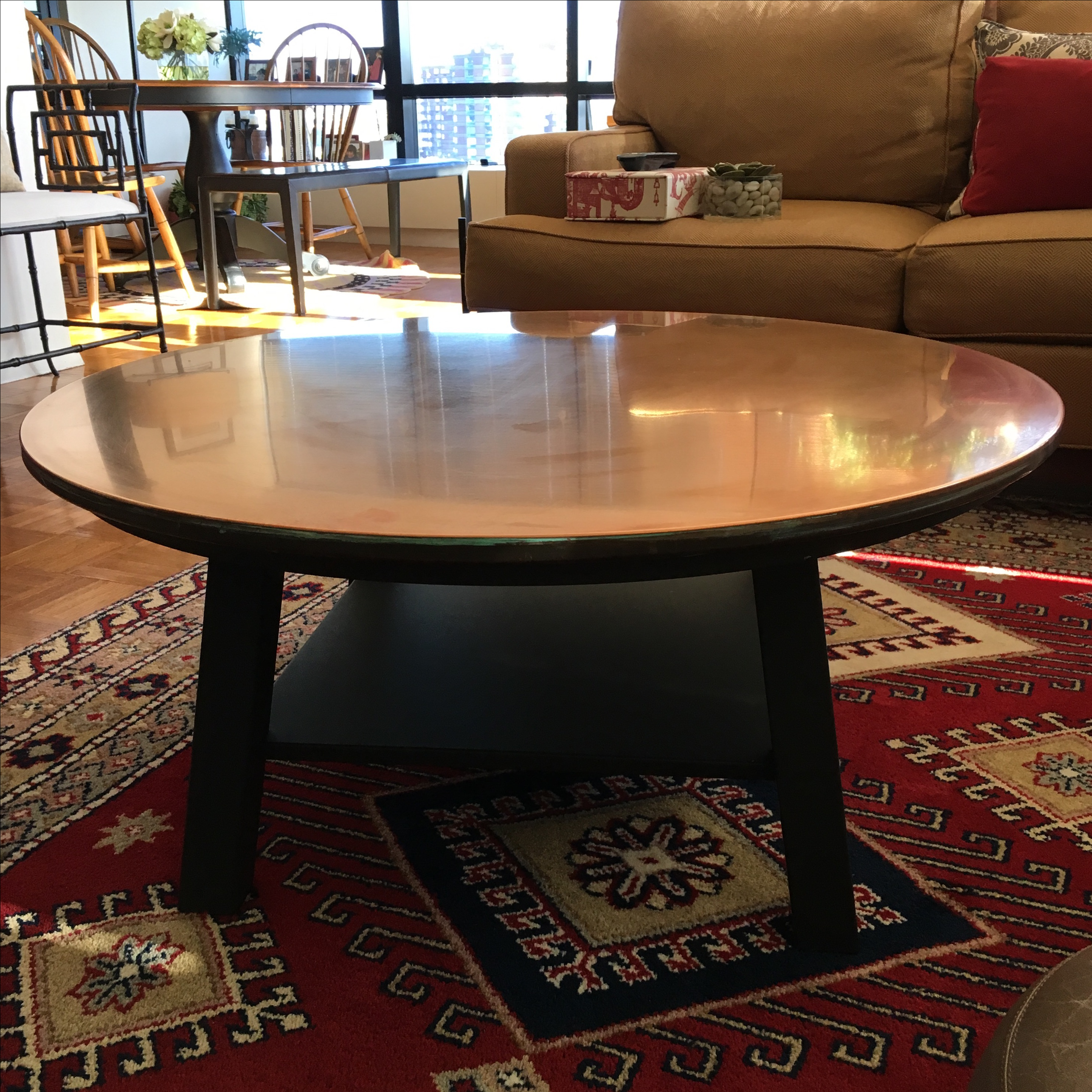 Ethan Allen Copper Top Coffee Table   Image 2 Of 3