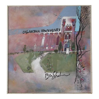 Large Ben Shahn Original Painting Oklahoma University, Circa 1960 For Sale