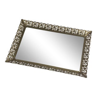 Vintage Dressing Table Carved Metal Mirror Tray For Sale