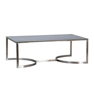 Grey Marble & Nickel Coffee Table For Sale