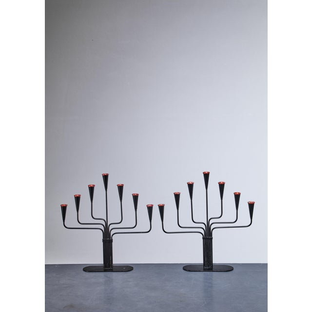 Ystad-Metall Pair of Gunnar Ander Candelabras for Ystad, Sweden, 1960s For Sale - Image 4 of 4