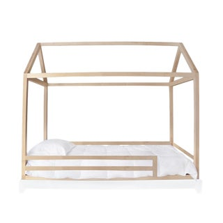 Domo Kids Twin Canopy Bed With Rails in Maple For Sale