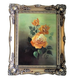 Oil on Canvas Floral Rose Painting Green Background Orange Roses Gilt Wood Frame For Sale