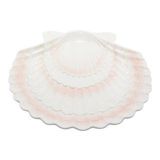 1950's Pink & Alabaster Otagiri Clam Shell Serving Platter From Japan For Sale
