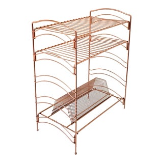 Rose Gold Copper Record Rack For Sale