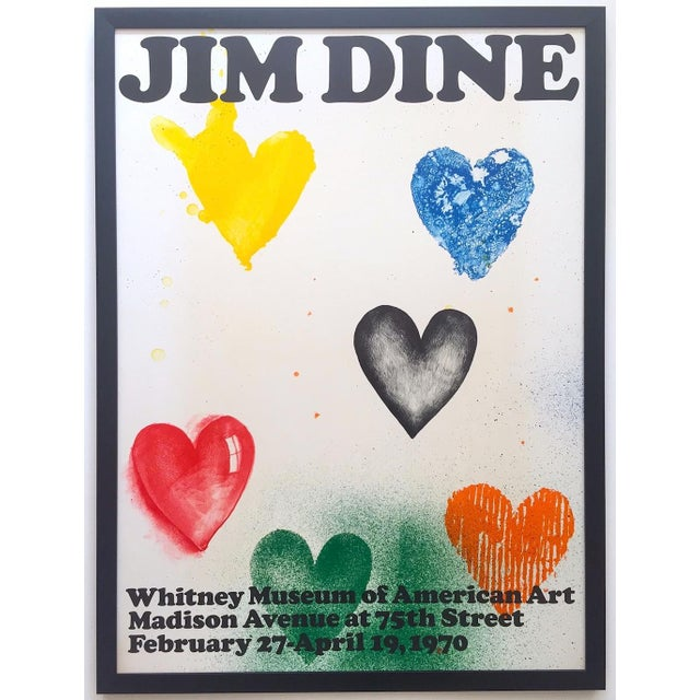 Jim Dine Rare Vintage 1970 Framed Silkscreen Print Whitney Museum Collector's Pop Art Exhibition Poster For Sale - Image 13 of 13