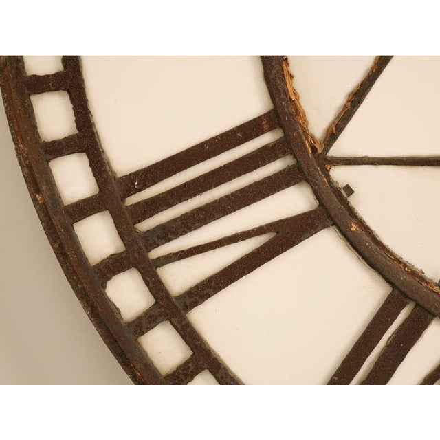White Cast Iron English Clock Face with Copper Hands, circa 1860 For Sale - Image 8 of 11