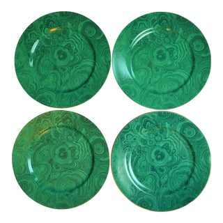 Malachite Neiman Marcus 12.25 Inch Chop Plates / Chargers - Set of 4 For Sale