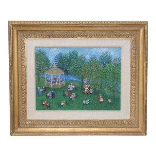 """Mollie Simon """"Bandstand in the Park"""" American Folk Art Painting C.1970 For Sale"""