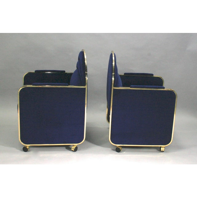 1970s Pair Design Institute of America Brass and Blue Velvet Club Chairs For Sale - Image 5 of 6