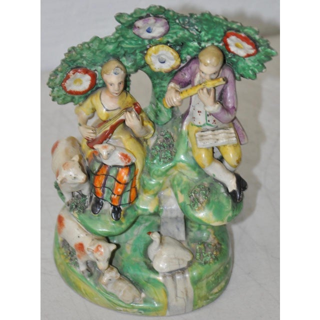 Mid 18th Century Early Staffordshire Figural Group Musicians With Sheep, 18th C. For Sale - Image 5 of 9