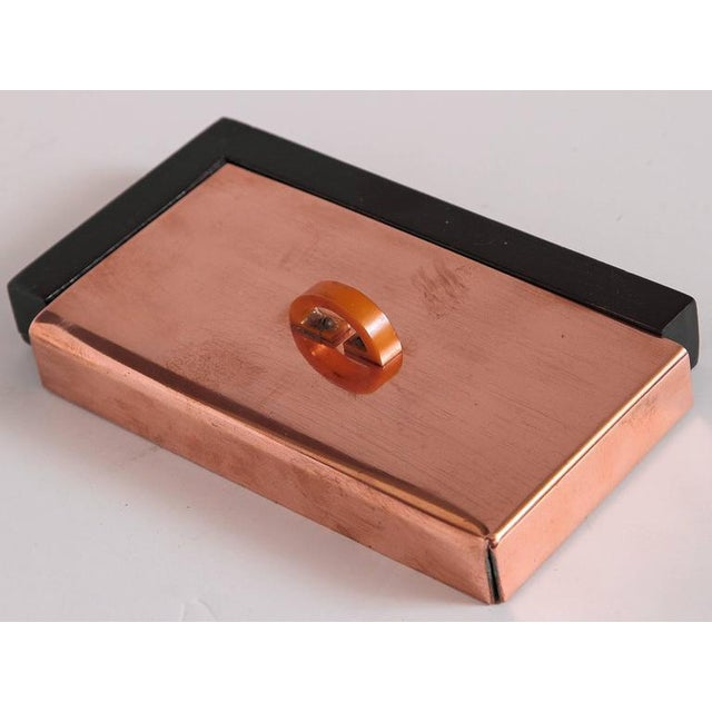 Machine Age Art Deco Asymmetric Covered Box in Copper, Catalin and Lacquer For Sale - Image 4 of 11