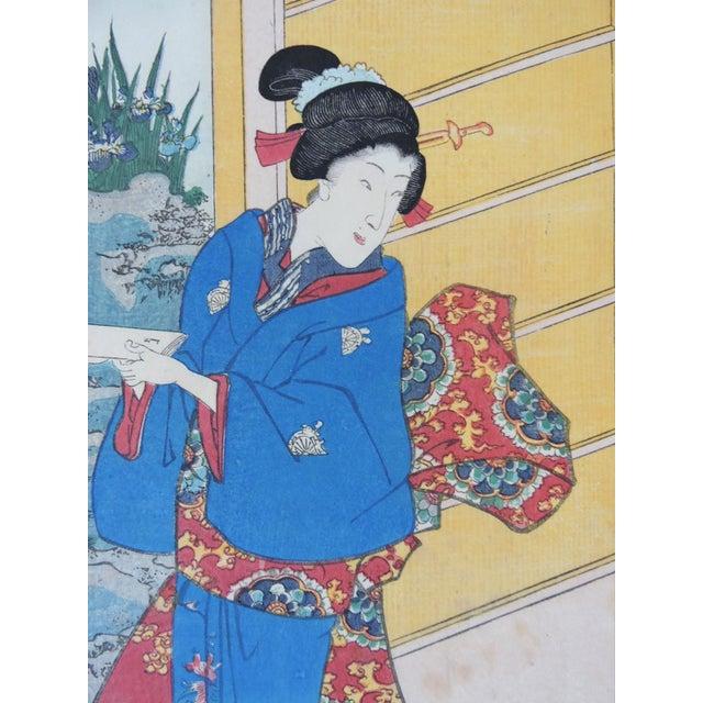 Antique Japanese Ukiyo-E Woodblock Triptych of Prince Genji by Utagawa Kunisada 1786-1865 For Sale - Image 10 of 11