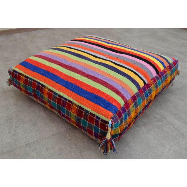 Turkish Hand Woven Kilim Floor Cushion - 30″ X 30″ - Image 2 of 10