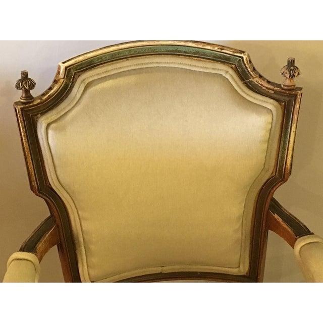 Louis XVI Maison Jansen Distressed Louis XVI Style Armchairs - A Pair For Sale - Image 3 of 6