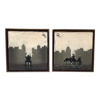 1970s Vintage Lee Reynolds Cityscapes With Horse and Carriage Paintings - A Pair For Sale