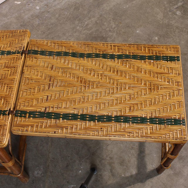 Vintage French Rattan Chaise Lounge & Footrest - Image 9 of 10