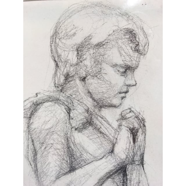 Academy Style Woman in Classical Dress Pencil Drawing For Sale - Image 4 of 11