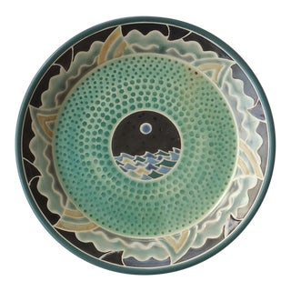 Organic Modern Moon Over Seascape Studio Green Pottery Platter For Sale