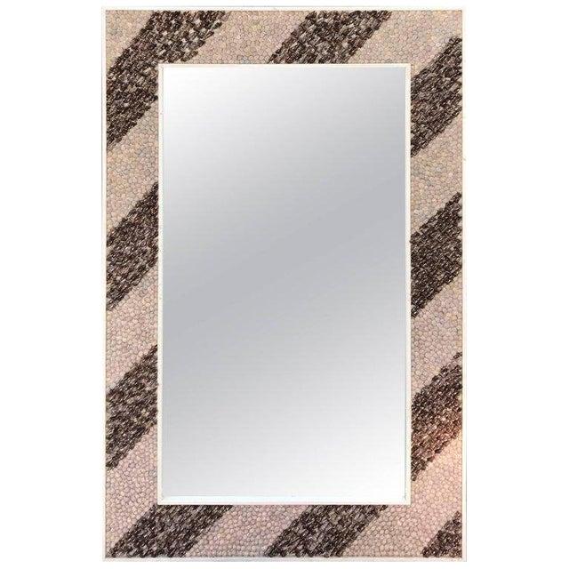 Mid 20th Century Mid-Century Modern Rectangular Shell Mosaic Frame Mirror Art For Sale - Image 5 of 5