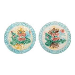 Antique French Majolica Leaf & Floral Plates - a Pair For Sale