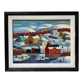 Snowy Hills Painting by Steve Klein, Framed For Sale