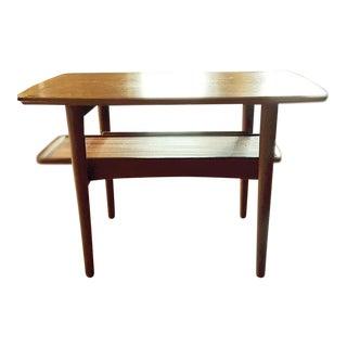 Mobler Danish Teak End Table With Sliding Shelf