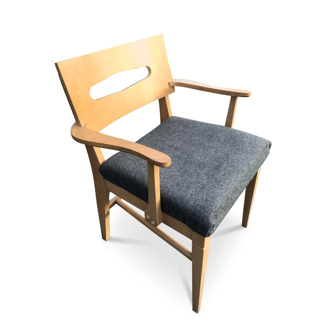 1960s Mid-Century Modern Gray Felt Upholstered Occasional Chairs - a Pair For Sale - Image 4 of 7