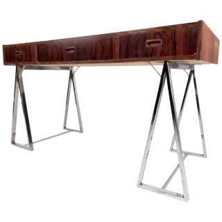 Danish Modern Rosewood and Chrome Campaign Desk For Sale