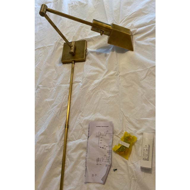 Visual Comfort Visual Comfort Swing Arm Wall Light in Hand-Rubbed Antique Brass With Matching Cord Cover For Sale - Image 4 of 8
