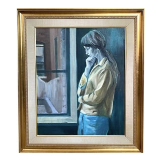 Mid Century Painting - Window Gazing, Signed and Framed For Sale