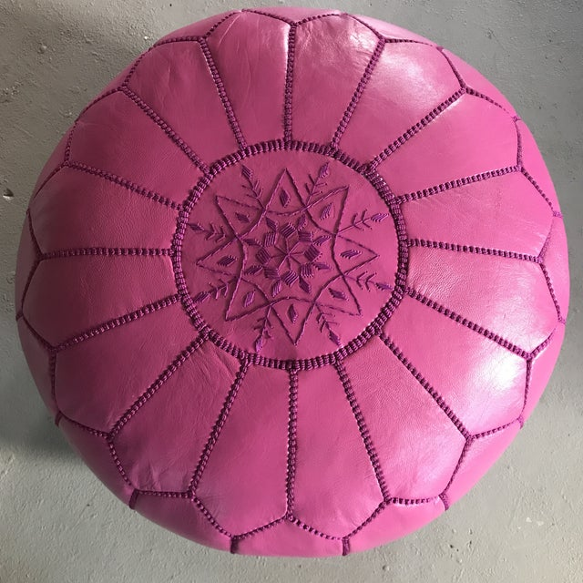 Moroccan Pink Leather Pouf - Image 3 of 6