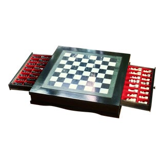 Vintage 70's Black Lacquer Box With Drawers and Inlay Marble Chess Board For Sale