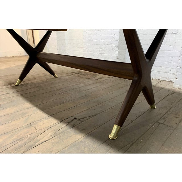 "Gold Fredrik Kayser ""Captains"" Dining Table For Sale - Image 8 of 9"