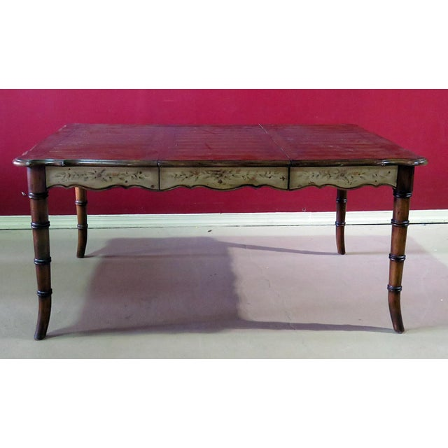 """Faux bamboo distressed painted dining room table with 2 drawers and 1 20"""" leaf. Made in the mid 20th century."""