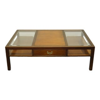 """Hekman Furniture Traditional Modern 54"""" Accent Coffee Table With Glass Panels For Sale"""