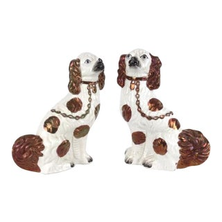 Large Staffordshire Copper Lustre Glaze King Charles Spaniel Figurines - a Pair For Sale