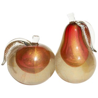 Vintage Mid Century Murano Glass Bookends Apple and Pear - a Pair For Sale