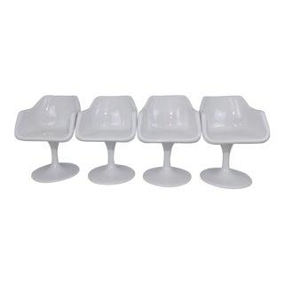 Burke Saarinen Mid-Century Modern Tulip Fiberglass Shell Egg Swivel Dining Seats - Set of 4