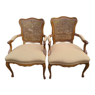 Mid-Century North Carolina Walnut Queen Anne-Style Arm Chairs W/Cane Backs - a Pair For Sale