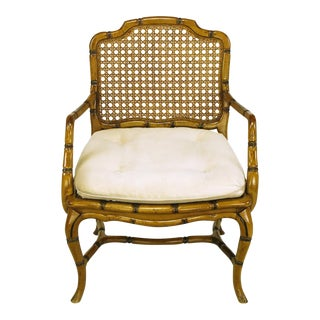 Bamboo-Form Cabriole Leg Cane Back Armchair For Sale