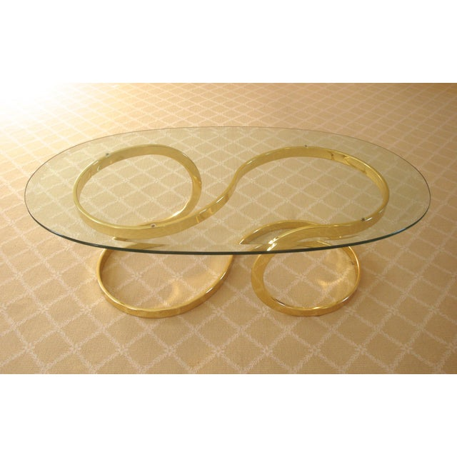 Brass Ribbon and Glass Coffee Table after Milo Baughman For Sale - Image 9 of 9